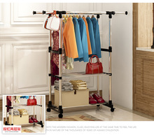 FREE Shipping 2Tier Stainless Steel Multi Function Wardrobe Storage Closet Racks The Pulley Can Be Moved(China)