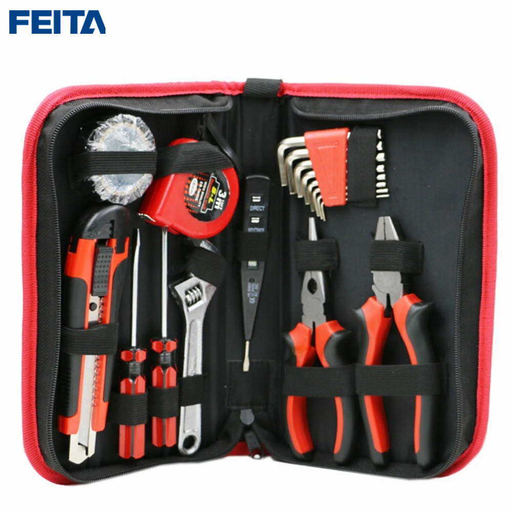 FEITA 18pcs/Set Garden Home Repair Tools Set Kit Screwdriver Utility Knife Plier DIY Handy Case Hand Household Tools Set<br>