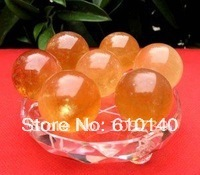 free shipping SHIP AAA 7PCS NATURAL GOLDEN calcite CRYSTAL SPHERE Healing 0080(China)