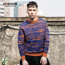 Viishow brand Men knitted Pullover Sweater male striped sweater ,popular young sweater pullovers