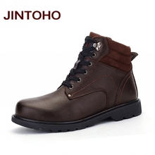 JINTOHO Fashion Men Boots Men Winter Shoes Big Size Male Ankle Boots Genuine Leather Italian Designer Shoe Luxury Moccasin Boots(China)