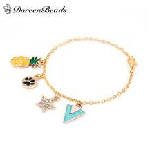 DoreenBeads New Women Fashion Jewelry Bracelets Gold color Pineapple/Ananas Fruit Dog's Footprints Star Clear 20cm long, 1 PC