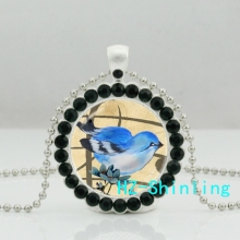 New Cartoon Blue Bird Necklace Blue Bird Crystal Pendant Glass Photo Jewelry Ball Chain Necklaces Silver(China)
