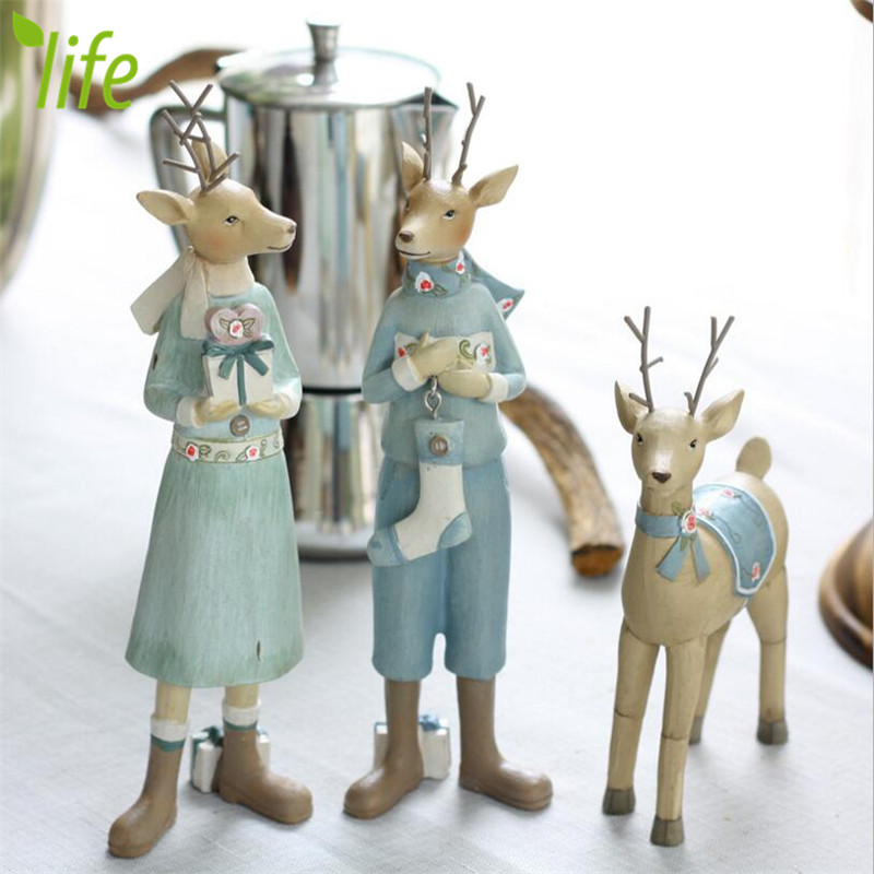 Verney Style Christmas Gift Resin Elk Figurines Ornament Doll Deer Home Decoration for New Year Gift 1 Piece Free Shipping(China (Mainland))