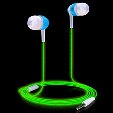 Noctilucent Green Light In-ear Earpiece Glow In the dark Earphones Cool Luminous Earphone with Microphone for Android iOS Xiomi