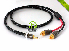 Free shipping Hifi cable audio rca cable JAPAN Audio signal wire plug 3.5mm aux plug convert two RCA plug