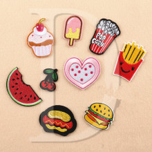 1 PCS ice cream parches Embroidered Iron on Patches for Clothing DIY Stripes Clothes Food Fruit Stickers Custom Hamburgers @J