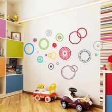 Brand 2017 215*95 Large Wall Stickers DIY Cartoon Decoration Wall Sticker Decal Home Decor Office Colorful Circle TV background