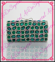 Aidocrystal fashion handmade Green rhinestone crystal India clutch bags with removable shoulder strap chain