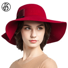FS Wine Red Large Wide Brimmed Felt Fedora Autumn Wnter 100% Wool Cloche Hats For Womens Bowler Cap Ladies Formal Hat