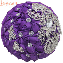 WIFELAI-A Romantic Purple Rose Peacock Diamonds Brooch Wedding Bouquets Bridal Mariage Pearl Flowers Wedding Bouquets W290-1