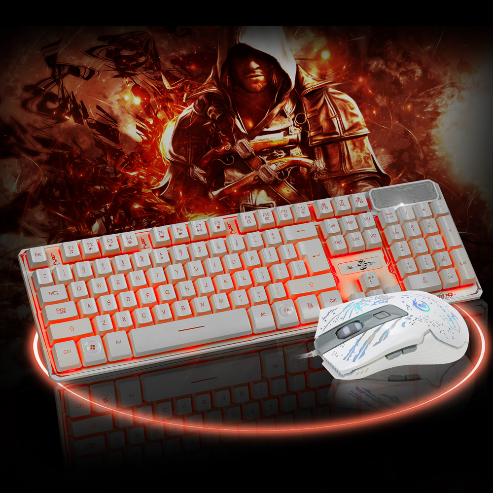 LED Gaming wired 2.4G keyboard and 3200DPI Mouse Computer Multimedia Gamer<br>