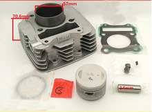 EN125-2A/2F/3E/3F GZ125HS Big Fins 57MM Motorcycle Cylinder Kits With Piston And 14MM Pin(China)