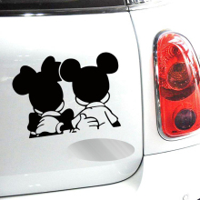 Newest Design Car Styling Funny Reflective Mickey Minnie Stickers for Car Tesla Volkswagen Ford Toyota Renault Opel Lada(China)