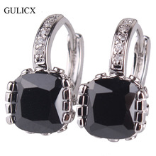 GULICX 2017 White Gold-color Hoop Earring for Women Fashion Jewelry Black Princess Crystal CZ Zirconia Wedding Jewelry E027