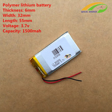 best battery brand Free shipping 3.7V,1500mAH,[603255] PLIB; polymer lithium ion / Li-ion battery for dvr,GPS,mp3,mp4,cell phone(China)