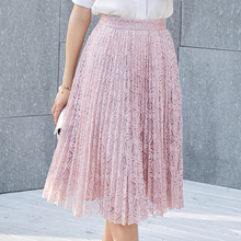 2017 new long pink lace skirts woman mid calf length fashion stylish solid high waisted pleated skirts grey black free shipping(China)