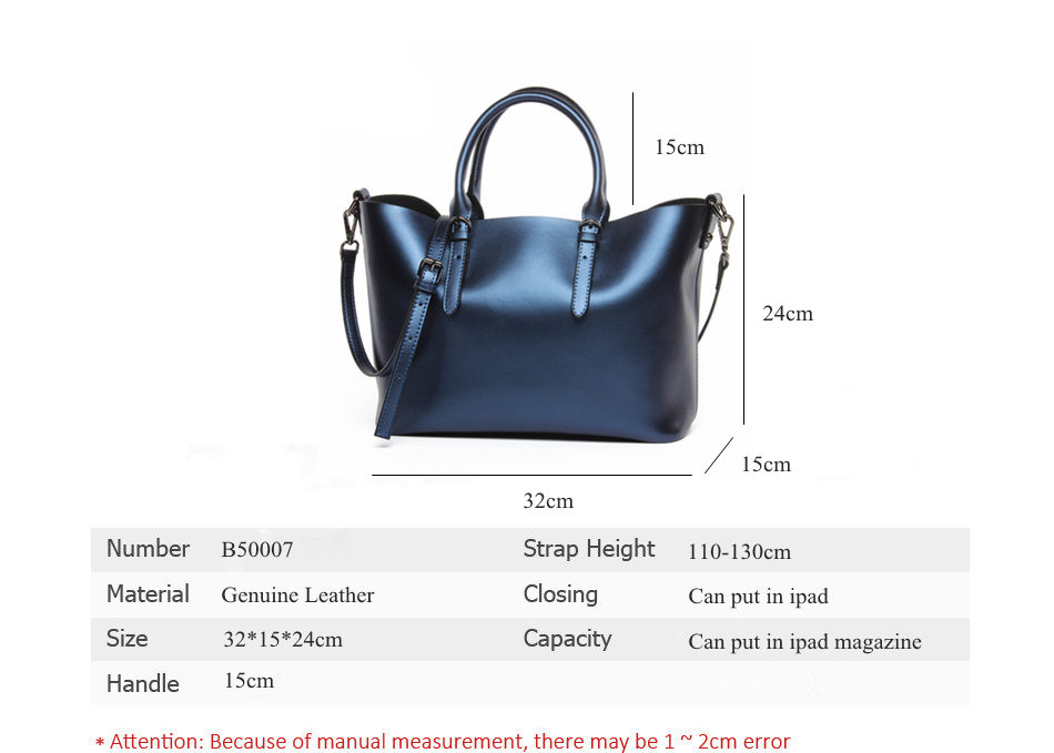 Luxury Design Womens Genuine Leather Casual Tote Purse Fashion Shoulder Handbag Ladies Blue Large Capacity Shopping Bag Bolsos