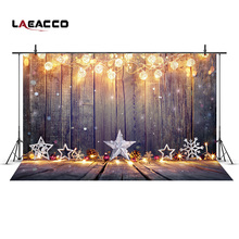Laeacco Bulb Garland Wooden Boards Christmas Photography Backdrops Vinyl Backgrounds For Photo Studio New Year Home Decoration(China)