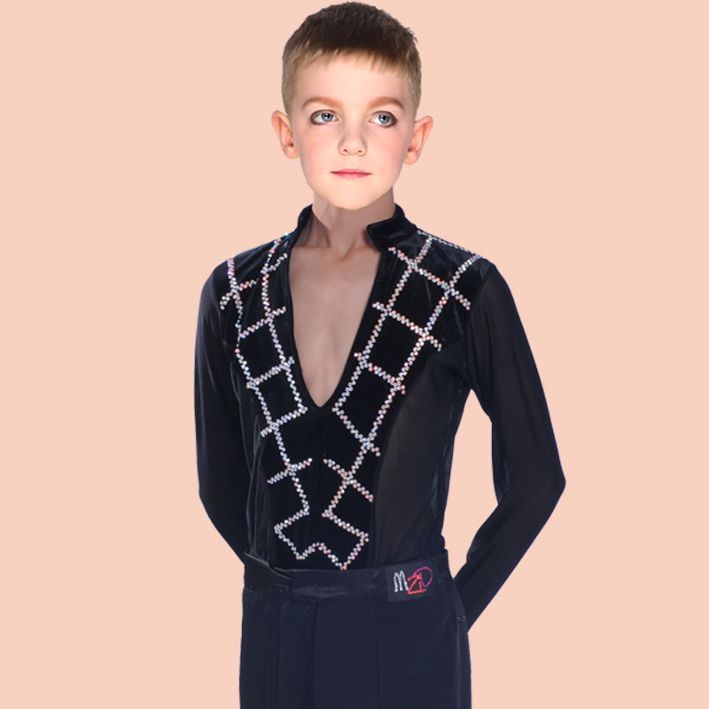 Boys Latin Dancing Costumes Kids Children Latin Salsa Practice Dance Clothes Black Blue Tops boy Ballroom Latin Dance Costumes