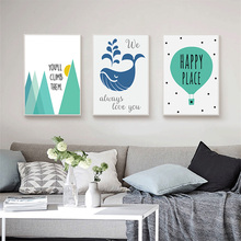HAOCHU Geometric Mountain Whale Life Letter Canvas Painting Cartoon Wall Murals Art Craft for Kids Room Decor Blue Poster
