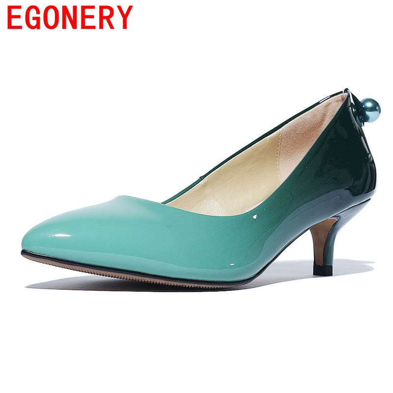 EGONERY shoes 2016 casual pumps new arrival half heels shoes woman genuine leather pointed toe footwear party shoes offce ladies<br>