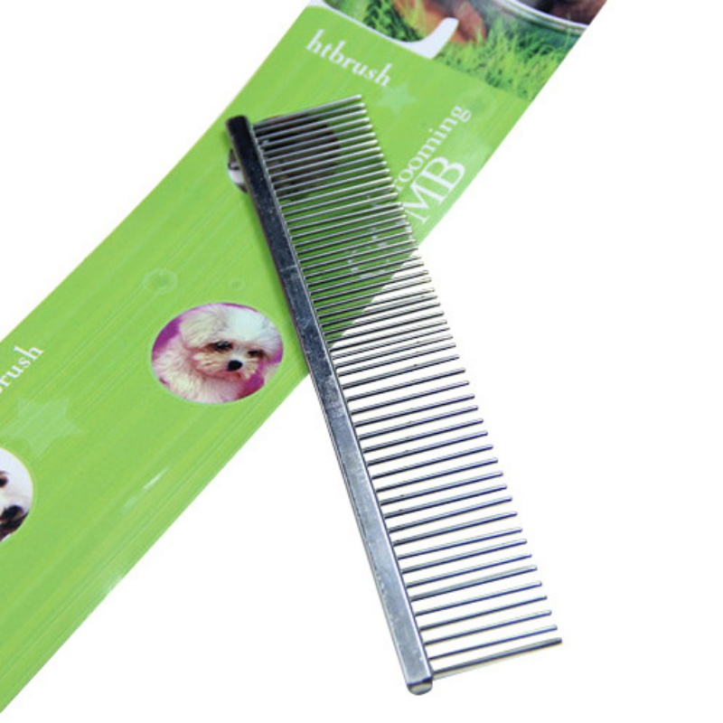 1pcs Puppy Pet Dog Cat Stainless Steel Teeth Comb Hair Massaging Grooming Pet Products(China)
