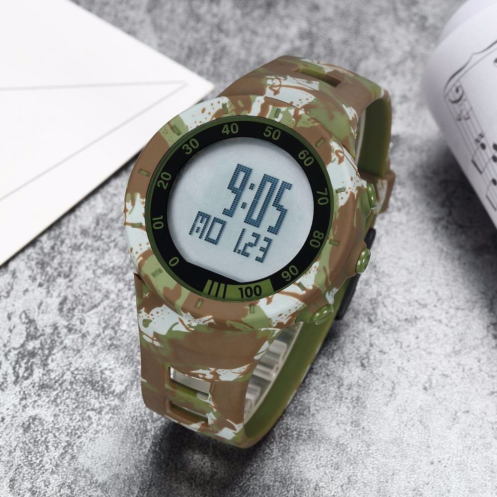 Digital LED Watch Army Green Men Sports Wristwatches Rubber Strap Waterproof Fashion Alarm Watch Clocks Stopwatches Reloj Hombre 11