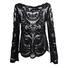 Semi Sexy Sheer Sleeve Embroidery Floral Lace Crochet Tee Top T shirt Vintage (Black)