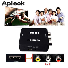 Mini HDMI to AV Converte r1080p HDMI to RCA Audio for HDTV HD DVD Video AV Adapter Converter Input CVBS Signal Mini Plug Adapter(China)