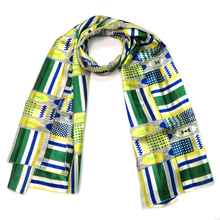 Bandana Scarf For Women/Men Shawl Stole Geometric Polyester Silky Feeling Green Yellow Large Wrap Pashmina Female Blanket Scarf