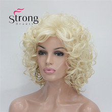 StrongBeauty Short Super Curly Blonde Full Synthetic Wig Full Wigs(China)