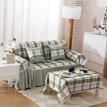 SunnyRain Polyester Plaid Green I Shaped Sofa Cover Sectional Sofa Covers Slipcover Couch Cover Chaise Longue Table Cloth