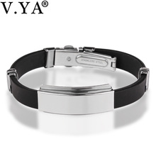 9 Color Rubber ID Bracelet Customized Logo Engraving Stainless Steel Bracelets for Lover's Men Women Mother Father Gift 03(China)