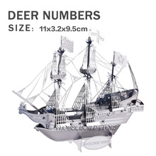 New creative Golden Hind 3D puzzles 3D metal model DIY Golden Deer No. Sailboat Jigsaws Adult/Children gifts toys Real details(China)