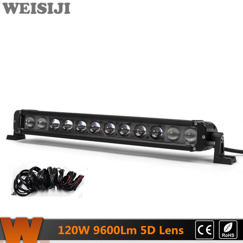 New 1Pcs WEISIJI 120W LED Light Bar Super Power with 5D Lens High Intensity Cree Chips Offroad Working Light for Jeep Hummer SUV<br><br>Aliexpress