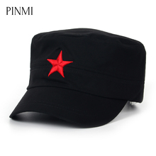 PINMI 2017 Military Hats Men Embroidered Star Flat Top Hats Brand Cotton Black Army Hat for Men Patriot Classic Cap Trucker Cap