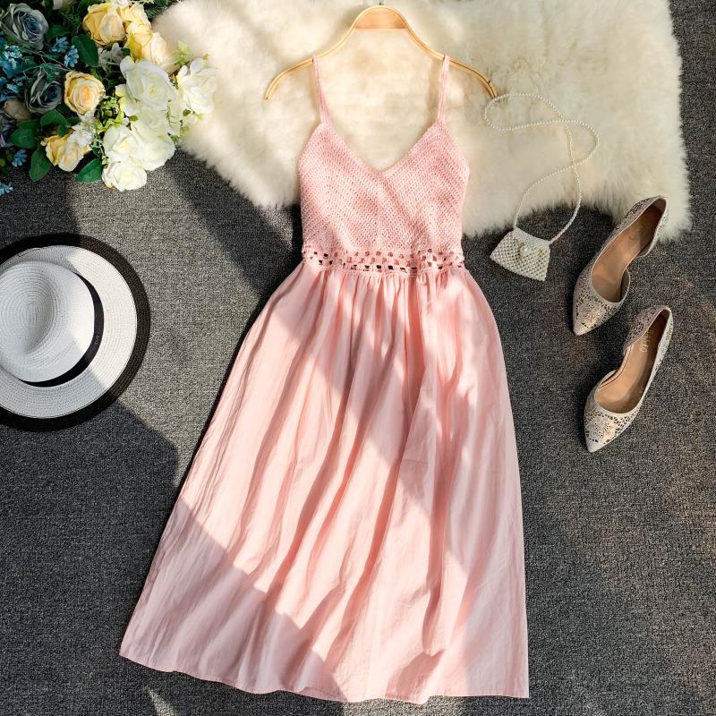 19 new fashion women's dresses Fresh openwork knit stitching V-neck strap high waist dress 4