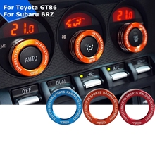3pcs Metal Air Conditioning Heat Control Switch AC Knobs Case STI TRD Logo Stickers for Toyota 86 GT86 Subaru BRZ Outback