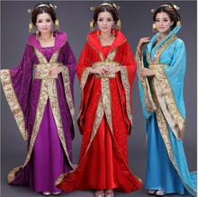 2017 New 9 Colors Vintage National tang suit Ancient Royal Chinese Hanfu Clothing Women's Costume Hanfu Women one size(China)