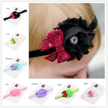 1PCS Hot Pink Black Shabby Flower Sequin Bow Headband Little Hair bows headbands headwrap dressy hairbands(China)