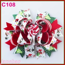 free shipping 30pcs Christmas feather hair bows Candy Cane Bow Santa Hair clip Reindeer Headband layered corker bows(China)