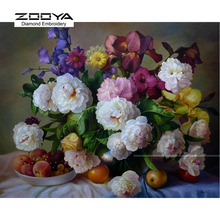 5D DIY Diamond Painting Flower Crystal Diamond Painting Cross Stitch Peony Floral & Fruits Needlework Home Decorative BJ830