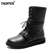 TAOFFEN fashion women real leather boots flat lace up buckle round toe cross strap women platform boots size 34-39