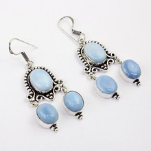 Chalcedony Earring  Silver Overlay over Copper ,63 mm, E0375