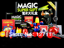 Free shipping christmas gift Magic set classic magic toy children's magic toys Gift Set 50 kinds magic play full teaching