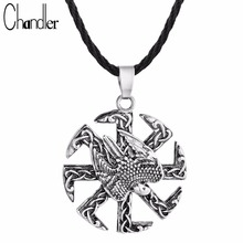 Chandler Protective Amulet Falcon Kolovrat Symbol Necklace Viking's Silver Plate Amulet Charms Man Eagle Africa Religious Bijoux(China)
