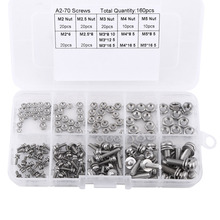 160pcs/set Stainless Steel Pan Head Screws Nuts Assortment Kit M2 M2.5 M3 M4 M5 Fastener Hardware(China)