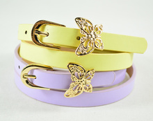 Child female butterfly accessories belt candy color strap female baby PU belt decoration kids belt for girl with bow accessories