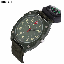 Outdoor Sport Quartz Wristwatches Compass Watch  Famous Men WatchM Army Soldier Military Canvas Strap Fabric Analog Light Watch